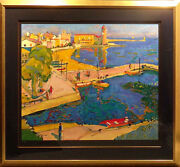 Manel Anoro Port Blau With Custom Frame Deluxe Paper Hand Signed Make An Offer