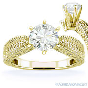 Round Cut Moissanite Antique-style Solitaire Engagement Ring In 14k Yellow Gold