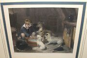 Edward Landseer The Breakfast Party E.finden Hand Colored 1880 Engraving