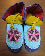 10 Authentic Native American Beaded Moccasins, Multicolored Flower