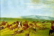 Comanche Moving Camp Dog Fight Enroute Indian American Painting By Catlin Repro