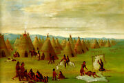 Comanche Village Women Dressing Robes And Drying Meat Indian By Catlin Repro