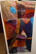 Michelle Talibah Spring Walking Acrylic On Rice Paper Abstract Painting