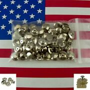 50 Chrome Locking Pin Backs Clasp Clutch Jewelry Finding Military Police Scouts