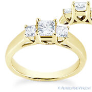 Square Cut Forever Brilliant Moissanite 14k Yellow Gold 3-stone Engagement Ring