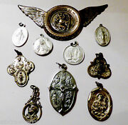 Lot Of 10 Sterling And Silver Tone Crucifix Medal Cross Pendant Charm Rosary Italy