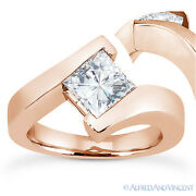 Forever Brilliant Square Moissanite Solitaire Engagement Ring In 14k Rose Gold