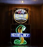 2 Carroll Shelby Racing Neon Sign Mustang Ford Gt Gt500 Gt350 Super Snake Garage