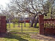 Custom Built Steel - Iron Driveway Gate 12and039 Wd Double Swing Home Yard Security