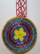 Native American Beaded Medallion Necklace Handmade 17 Inches Long Unisex