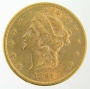 1891 S 20 Gold Double Eagle Liberty Coin