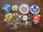 80 Mostly 1980's Nhl Buttons And Pins. All Star, Defunct Teams, Old Logos Etc