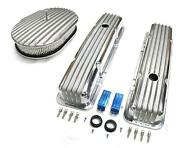 58-86 Chevy Polished Aluminum Finned Valve Covers And 12 X 2 Air Cleaner Kit Sbc