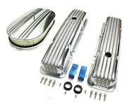58-86 Chevy Polished Aluminum Finned Valve Covers And 15 Air Cleaner Kit Sbc 350