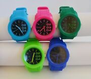 New-geneva Silicone,black Dial Blue,green,hot Pink Large Dial Watch