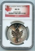 2015 Canadian Maple Leaf 5 Silver Dollar Ms70 Ngc .9999 Certified Graded Coin