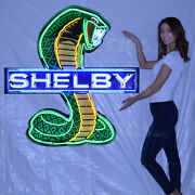 Collection Of 2 Shelby Neon Sign Gt500 2020 Super Snake Racing Flags Ford Gt