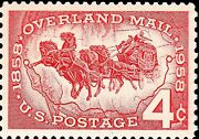 Magnet Us Postage Stamp Photo Magnet Overland Mail 1858 To 1958 4 Cents