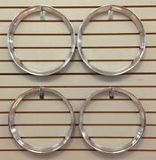15 Chrome Stainless Steel Hot Rod Style Ribbed Beauty Rings Trim Ring Set Of 4