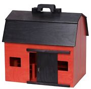 Toy Wood Barn Complete W/ Barnyard Of Farm Animals And Fence Amish Handmade In Usa