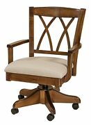 Amish Alexis Upholstered Arm Office Desk Chair Solid Wood Rolling Gas Lift