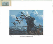 Kentucky 5 1989 State Duck Stamp Print Black Lab By Philip Crowe