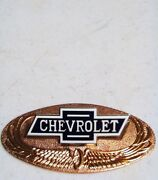 1928 Chevy Chevrolet Radiator Emblem With Bronze Back Plate And03928 Bowtie C-8212-b