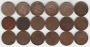 18 Indian Head Cents / Pennies Scarce Dates Incl Copper Nickel, 1870s, + 1908s