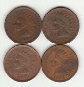 4 Different High-grade Indian Head Cents / Pennies - 1890, 1897, 1901, + 1909