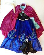 Nwt Disney Store Sz M 7-8 Frozen Deluxe Anna Traveling Costume Dress Boots 13/1