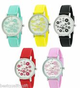 New-geneva Silicone Band,crystal Dots Obsession Pattern On Glass Lady's Watch