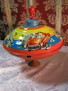 Old Metal Spinning Top Toy With Boy Girl Dog And Cars Western Germany Vintage  T