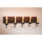 Large 5 Arm Vanity Light Primitive Country Wall Fixture In Salem Brick
