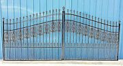 Custom Built Steel - Iron Driveway Entry Gate 14 Ft Wide Dual Swing Residential