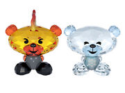 Colored Crystal Figurines Set Of 2 Bo Bear Fire And Ice 5004496 New