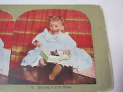 Girl Eating Box Of Chocolates Antique Stereoview Stereo Card   T