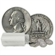 90 Silver Washington Quarters - Roll Of 40 - 10 Face Value Average Circulated