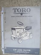 1968 Toro Lawn Tractor 6 Hp 57101 57201 Owner Manual Parts Riding Mower R