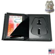 Baltimore Police Officer Badge Wallet Bi-fold Menand039s Black Recessed Leather Pf104