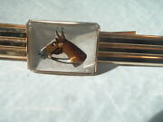 Vintage Art Deco Hand Painted Horse Under Crystal Swank Tie Clasp