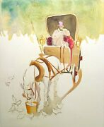 William Papas Central Park Signed And Numbered Hand Colored Etching, Carriage Ny