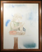 David Peter Ramos Untitled Original Drawing And Painting On Canvas Little Girl Obo