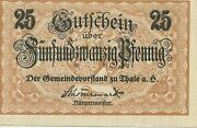 1919 Germany 25 Pfennig Currency Note Paper Money Thale