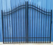 Steel Driveway Entry Gate 9ft Wd Dual Fence Handrails Residential Home Security