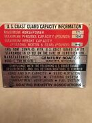 Nos Century Boat Trident 16 Ob 125 Hp Capacity Plate1970sclassic Boatsvintage