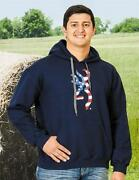 Mens Old Glory Browning Buckmark Pull Over Hoodie Red White Navy Blue American