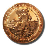 Franklin Mint History Of Us Freemont Maps The West 1842 45mm Proof Bronze Medal