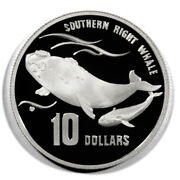 Australia Southern Right Whales 10 Dollars 1996 Proof Silver Crown Km314