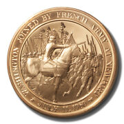 Franklin Mint History Of Us Washington Joined By French 1780 45mm Proof Bronze M