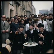 3 Of The Beatles John Paul And George Drinking Coke In Outdoor Cafe Color Photo